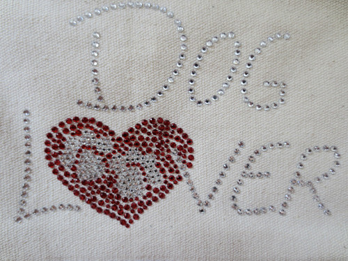 Dog Lover with Red Heart and Paws Iron On Design