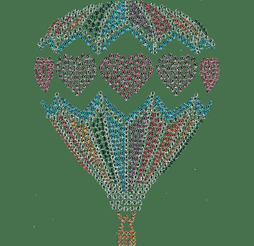 Hot Air Balloon Hearts Iron On Design