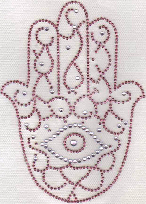"Pink ""Evil Eye"" Hamsa (Large) Iron-On Transfer"