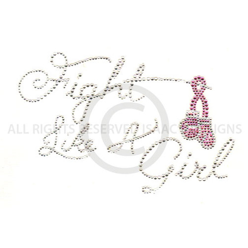 Pink Breast Cancer Awareness Ribbon Fight Like a Girl Boxing Gloves Iron On Design