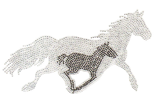 Running Horse with Baby Horse Shadow Iron On Design