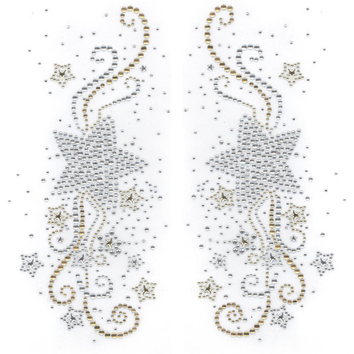Shooting Star with Swirls & Mini Stars Pair Iron On Design