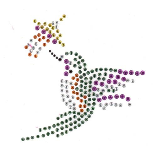 Single Flying Hummingbird with Flower Iron On Design