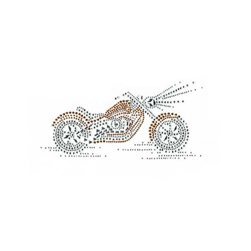 Small Gold Motorcycle with Shining Headlight Iron On Design