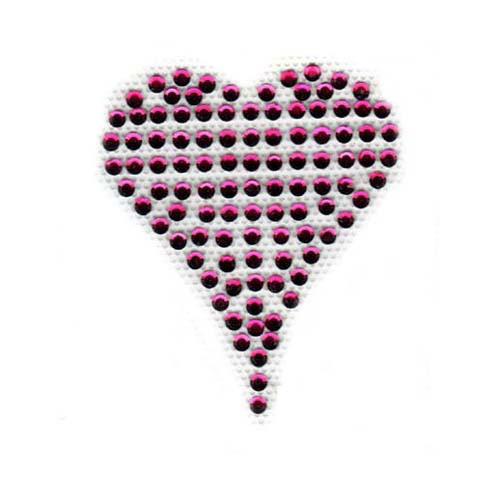 Small Solid Pink Heart Rhinestone Iron On Design