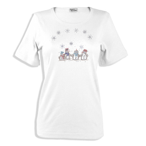 Caroling Snowman Quartet Winter Scene Iron On Design