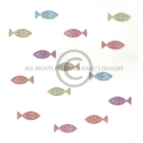 Swimming School of Colorful Mini Fish Iron On Design