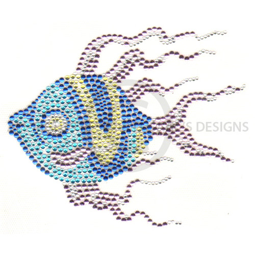 Swimming Tropical Fish with Blue & Gold Swirls Iron On Design
