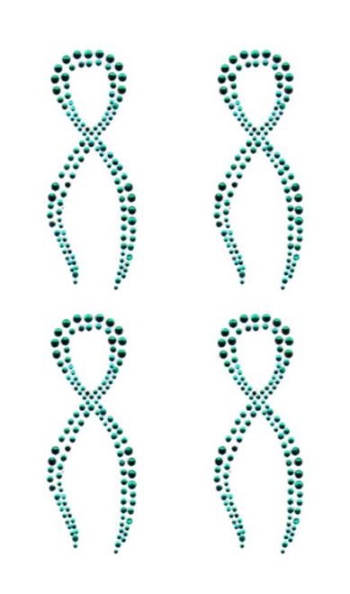 Teal Awareness Ribbon Twist Iron On Design - Set of 4