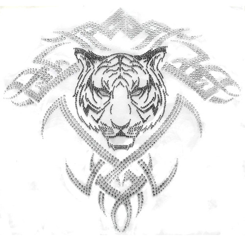 """Tiger Head Over Tribal Tattoo"" Iron-On Design (S3327B)."
