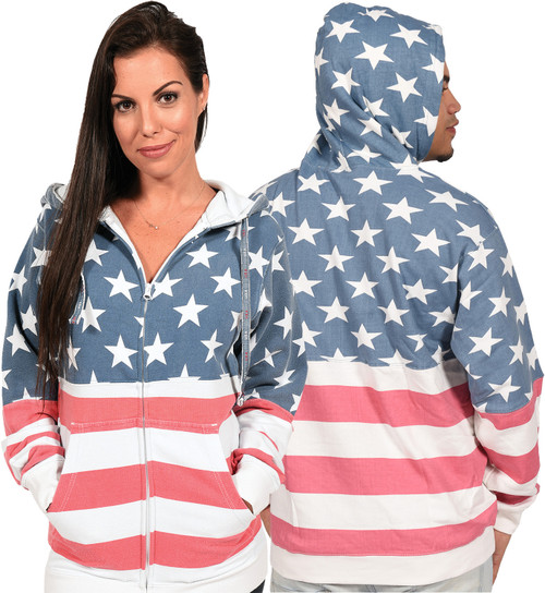 "USA ""Vintage-Print"" Unisex Full-Zipper Hoodie."