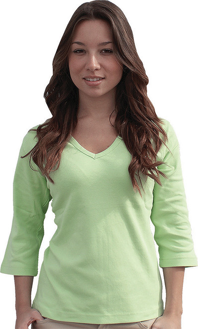 3/4-Sleeve V-Neck Top, shown in Lime.