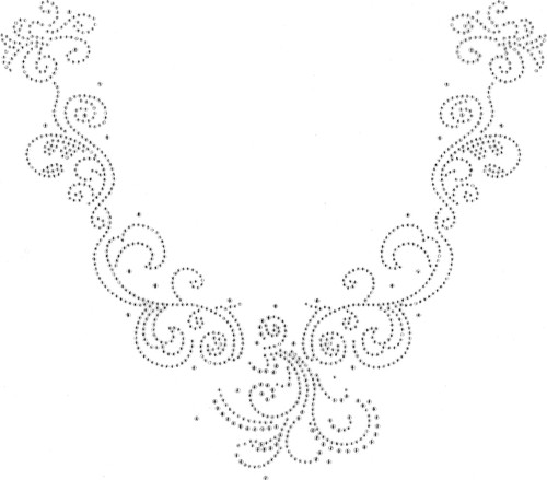 """""""All-Clear Leaves & Vines V-Neckline"""" Iron-On Design (S101224MA)."""