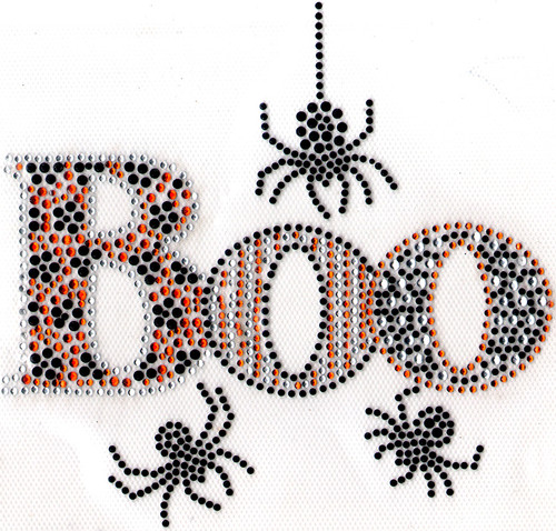 "Spooky ""BOO"" & Black Spiders Iron-On Design (S1125-BLK) shown."