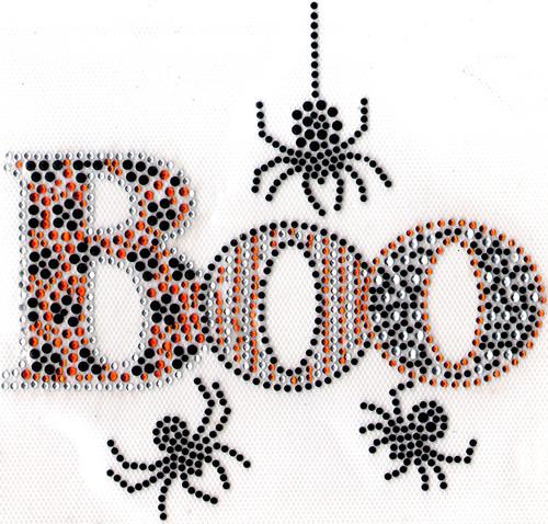 "Spooky ""BOO"" & Black Spiders Iron-On Design (S1125-BLK) shown."