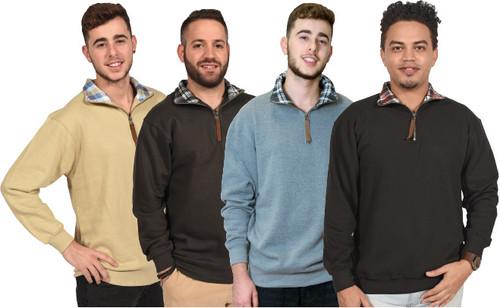 Plaid-Collar 1/4-Zipper Pullover Fleece Series.