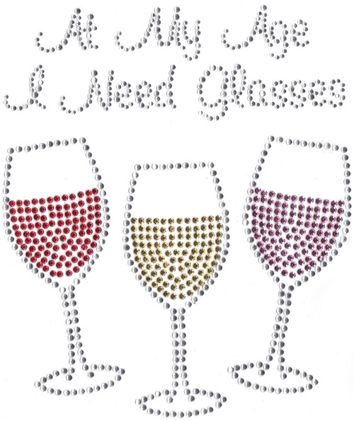"""At My Age I Need Glasses"" phrase, over trio of Wine Glasses (S3639)"