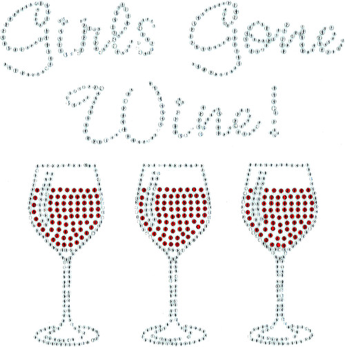 """Girls Gone Wine"" Iron-On Design (S101430)."