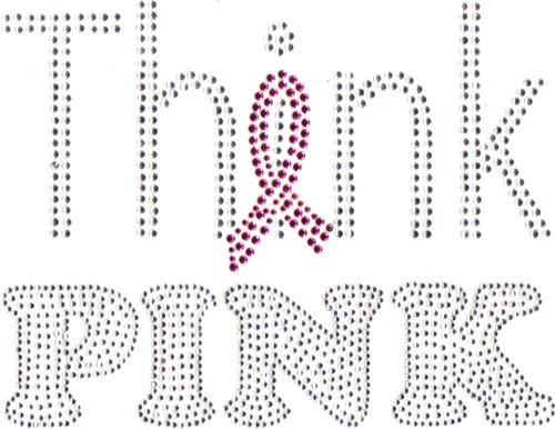 Think Pink Breast Cancer Awareness Ribbon Iron-On Transfer
