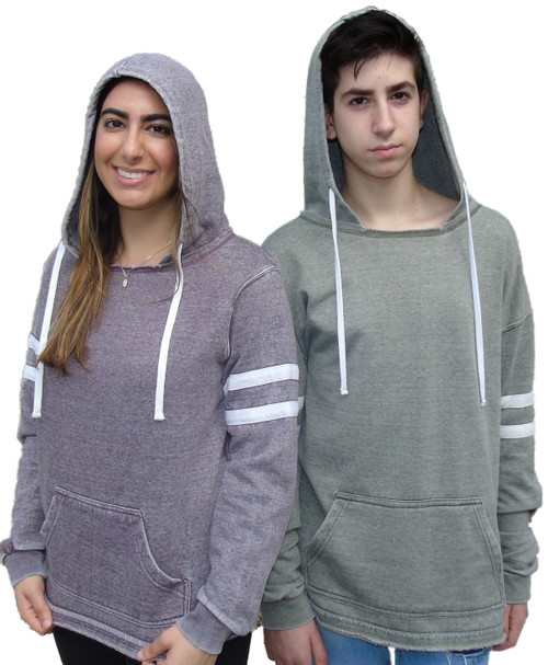 Burnout Washed Soft Fabric Unisex Pullover Hoodie w/Stripes on Sleeves (4043)