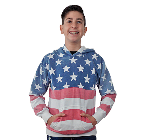 "iKids ""USA Vintage-Print"" Unisex Pullover Hoodie worn by him shown."