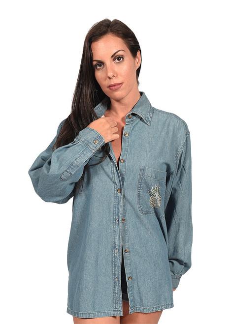 Long Sleeve Denim Button-Down Shirt (D5000)