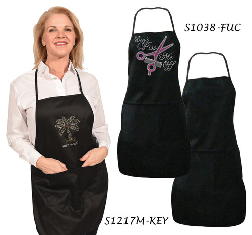 """Double-Pockets """"One Size Fits All"""" Apron, shown here embellished with """"S1217M-KEY"""" and """"S1038-FUCHSIA"""", sold separately."""
