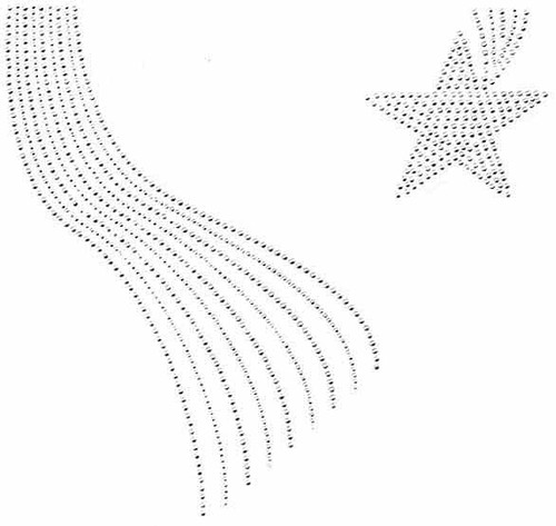 All Clear Shooting Star Scoop-Neckline Iron-On Design (S101128-CLR).