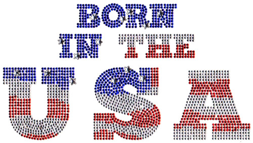 "Large ""Born In The USA"" Iron-On Design (S102177LG) shown."