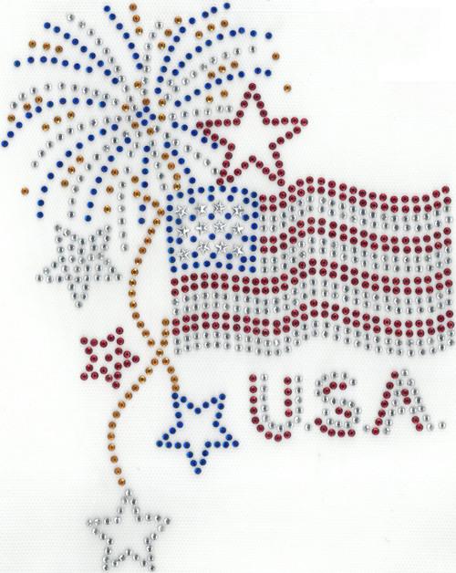 USA Flag & Fireworks Iron-On Design (S102361)