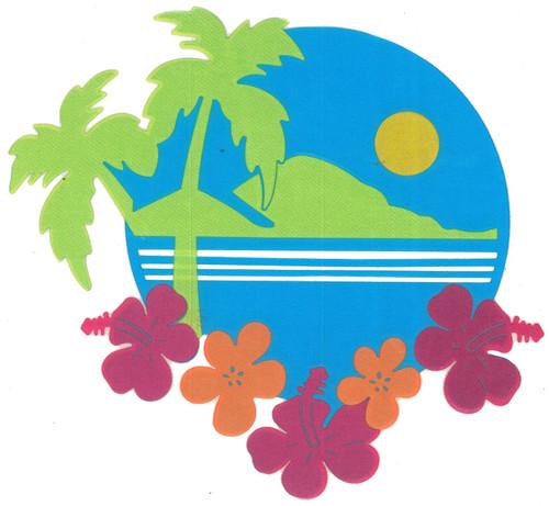 Satin Beach Paradise Scene Iron-On (MM-0568 SATIN)