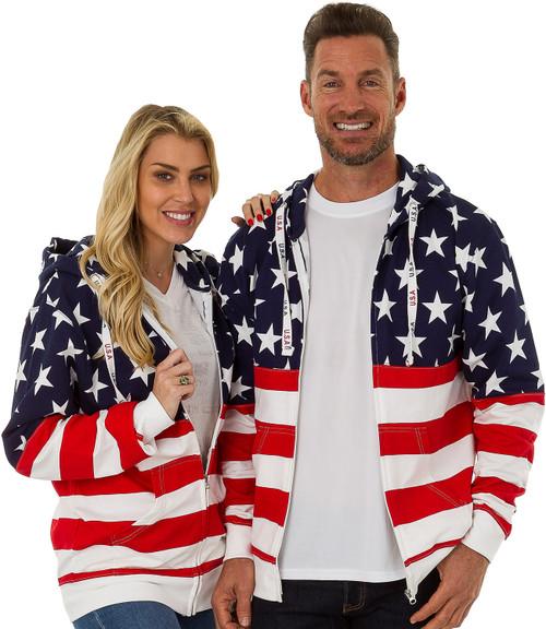 "4022 USA ""Bright-Print"" Unisex Full-Zipper Hoodie."