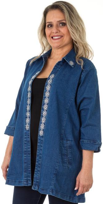"Traveler Denim Jacket, embellished with ""S9088-DIAMOND"" stripe design (sold separately)."