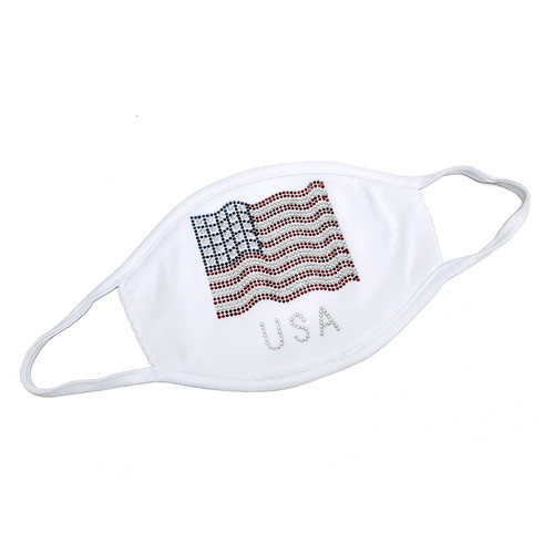 "Decorated Oval Fashion Mask, with ""USA FLAG"" design shown."