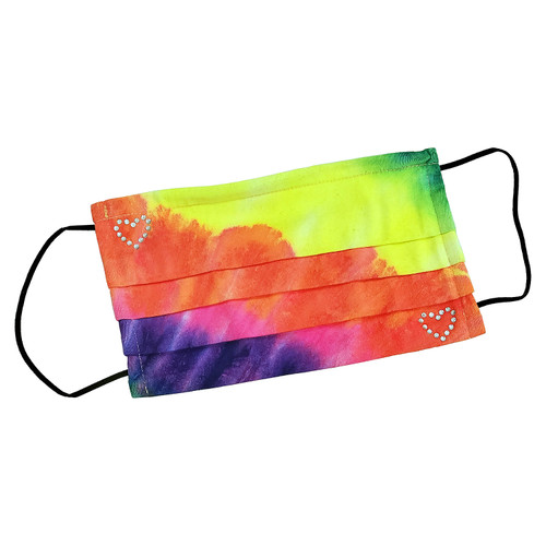 """Decorated Rectangular Tie-Dye Fashion Mask, with """"MINI HEARTS"""" design shown."""
