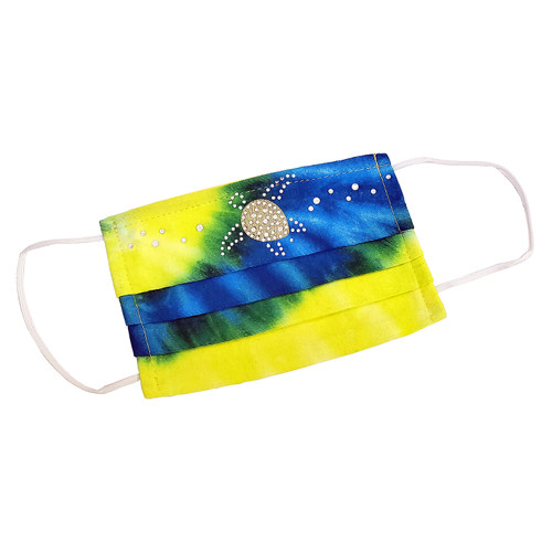 "Decorated Rectangular Tie-Dye Fashion Mask, with ""SWIMMING TURTLE"" design shown."