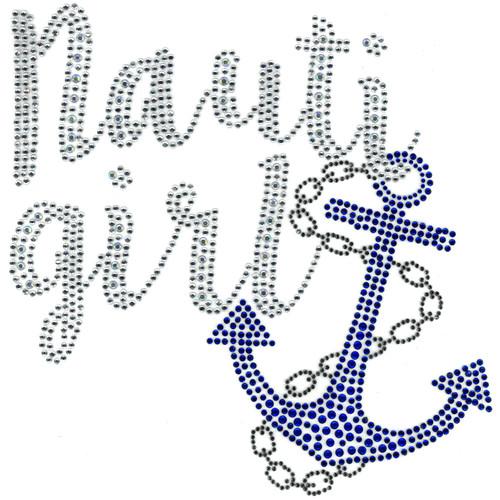 """Nauti Girl"" Iron-On Design (S102836)."