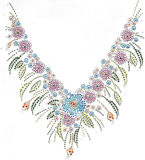 """Colorful Floral V-Neckline"" Iron-On Design (S5424)."