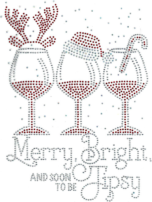 """Merry, Bright, And Soon To Be Tipsy"" Iron-On Design (S101856)"