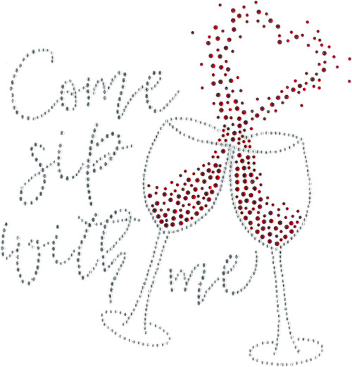 """Come Sip With Me"" Iron-On Design (S102055)."