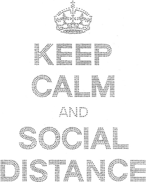 """Keep Calm And Social Distance"" Iron-On Design (S101818)."
