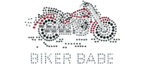 """Biker Babe"" Iron-On Design (S1313S-RED-BB)"