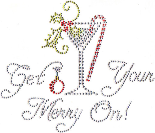 """Get Your Merry On!"" Iron-On Design (S6351)."