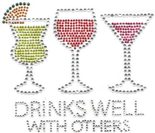 """Drinks Well With Others"" Iron-On Design (S4129)."