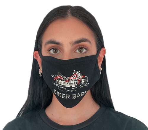 Decorated Oval Fashion Mask (BIKER BABE RED design)