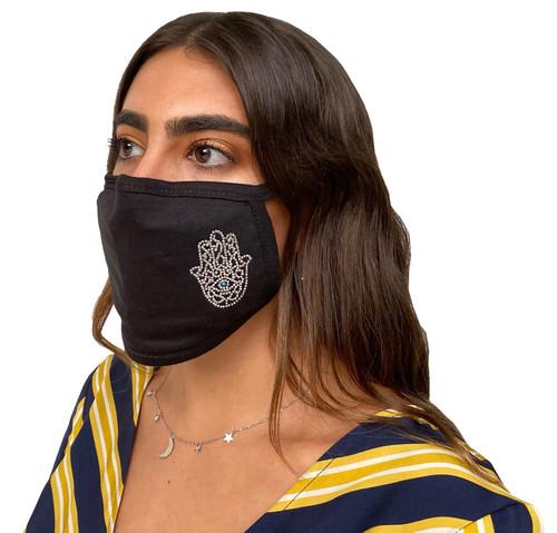 Decorated Oval Fashion Mask (Small Aqua Eye Hamsa)