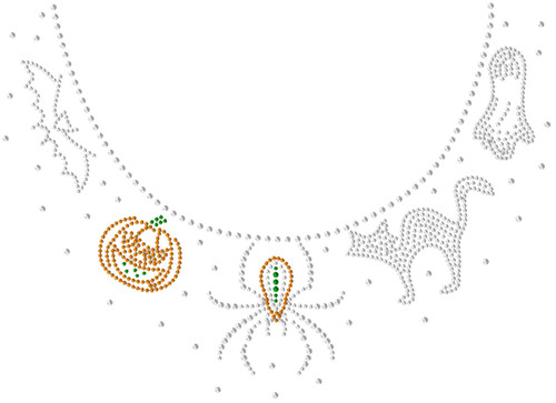 Spooky Scoop-Neckline Iron-On Design (S101299).
