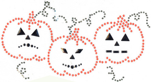 Spooky Pumpkin Trio Iron-On Design (S2028) shown.