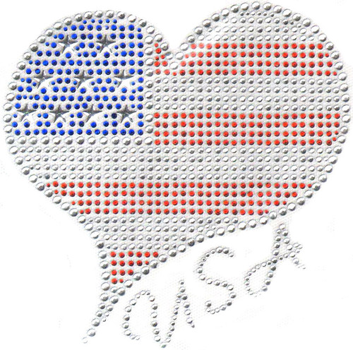 Patriotic Heart Iron-On Design (S7134) shown.