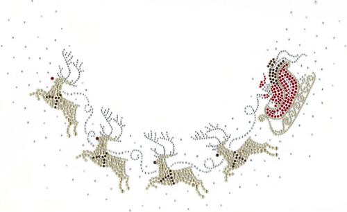 Santa Sleigh with Reindeer Scoop-Neckline Iron-On Design (S8302) shown.